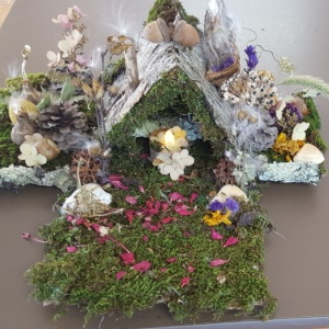 Assembled fairy house made from natural materials.