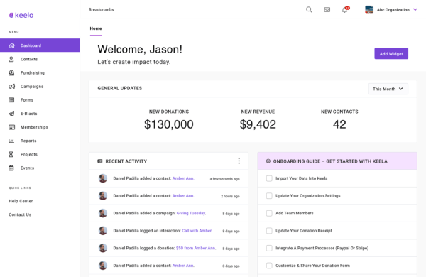 Screenshot of the Dashboard page of the Keela CRM